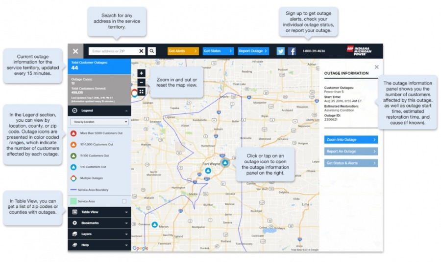 I M Launches New Power Outage Information Map Fort Wayne Ne
